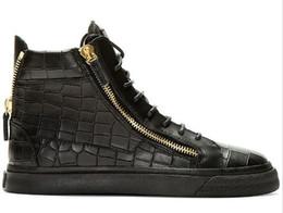1sizes 35-47 новый бренд итальянский дизайнер мужчины кроссовки женщин Повседневная обувь из натуральной кожи на шнуровке высокие топ коричневый двойной молнии декоративные от Поставщики итальянские тапочки мужчины