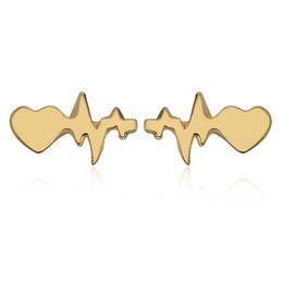 2019 diamante coração brincos Coração Brincos Para As Mulheres Na Moda Bijoux Eletrocardiograma Brinco de Strass Presentes de Natal Brincos De Imitação De Diamante diamante coração brincos barato