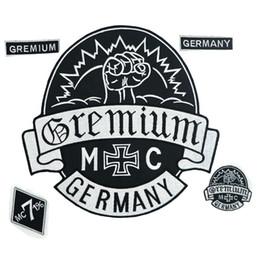 GREMIUM GERMANY MC gran hierro bordado punk en el respaldo insignia de parche del motorista para chaqueta jeans 5 piezas / SET desde fabricantes