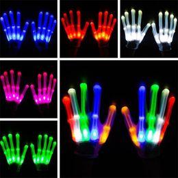 bunte led-handschuhe Rabatt Halloween Christmas Dance Performance Requisiten LED Lichthandschuh bunte blinkende Handschuhe Rainbow fluoreszierende fünf Finger Handschuhe T7C5003