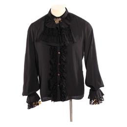 2019 increspature formali di camicetta Gothic Men Necktie Shirt Black Stand Collar Tuxedo Camicie Punk maniche lunghe Ruffles camicetta formale camicie increspature formali di camicetta economici