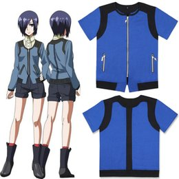 Traje de cosplay touka on-line-Japão Anime Unisex Tokyo Cosplay Ghoul Touka Kirishima Azul Jacket Zipper manga curta Brasão Casual Hoodie (Asian Size)