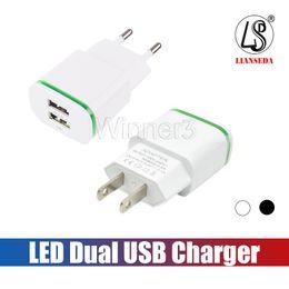 circuits de chargeur de batterie Promotion Chargeur mural Cool LED Double ports de chargeur USB Accueil Voyage Adaptateur secteur 5V 2.1A + 1A AC US UE Plug pour Samsung Huawei