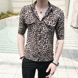 2146a5892a0f12 Summer Sexy Leopard Print Half Sleeve Men Shirt Turn Down Collar Slim Fit  Front Double Pocket Casual Shirts For Men Clothes 2019 breast sexy shirt  deals