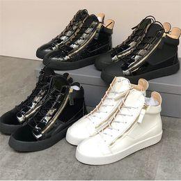 Uomini Kriss Sneaker moda di lusso high top Nero Bianco Vera Pelle formatori la Designer scarpe d oro laterale Zip Donne Vintage corsa Sneaker US12