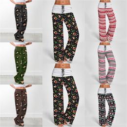 Pantalones de yoga con estampado de leopardo online-Navidad leopardo ancho Pantalón de pierna 7 estilos cómodo impresión con cordón Salón de Yoga Pantalones Harem flojos OOA7226-1