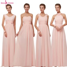 3683072e6fe Beauty Emily 2019 Bridesmaid Dresses Chiffon Long Pink A-line Sleeveless  Wedding Party Prom Girl Dresses Hot Sale J190430