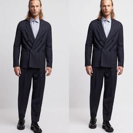 veste de loisirs à double boutonnage Promotion Été hommes costumes belle rayure double boutonnage marié porter pour mariage plage loisirs hommes costume blazer (veste + pantalon)