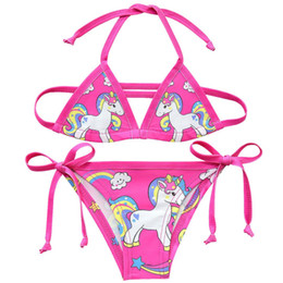2019 biquinis bonitos dos ternos de banho das meninas Bikini meninas unicórnio swimwear little criança crianças meninas verão fatos de banho bonito praia desgaste biquíni ternos g48-8067 desconto biquinis bonitos dos ternos de banho das meninas