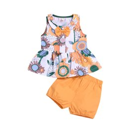 Bogenjackenrock online-Sunflower sleeveless skirt and shorts two-piece suit BABY girl kid Bow-knot printed jacket shorts children's suit