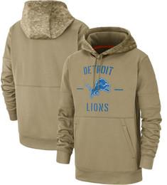 Leão casaco homens on-line-2020 Nova Detroit camisola Tan Lion Hoodies Salute to Serviço Sideline Therma Desempenho Pullover jaquetas Homens Mulheres Juventude