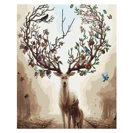 marcos de la pared pinturas al óleo paisaje Rebajas Diy Animales Pintura Pintura por números en lienzo con pinturas acrílicas Pinceles con o sin marco para adultos principiantes: ciervos y niños