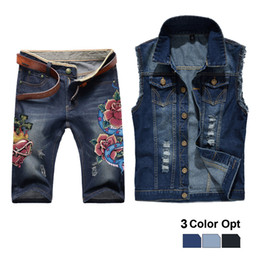 2019 синий пляжный пиджак Men Jean Vest Jacket Set Retro Ripped Destroyed Skinny Hole Top Denim Short Pants 1/2 Trousers Summer Beach Wear Blue Flower дешево синий пляжный пиджак
