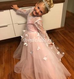 Vestidos de cumpleaños de mariposa online-2019 Butterfly Sweet Girls Vestidos de desfile Joya Manga larga de encaje Vestido de niña de flores Vestidos de fiesta de cumpleaños de niños Primera comunión Holly Wear
