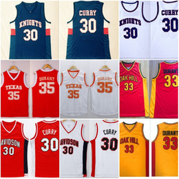 camiseta de baloncesto de curry Rebajas # 30 Stephen Curry Davidson # 35 Kevin Durant Texas College Camisetas de baloncesto Caballos cosidos Oak Hill High School Basketball Jersey