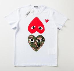 18 renk Erkek tasarımcı t shirt commes Kalp spor tee Gömlek des garcons Beyaz T-Shirt CDG OYUN tees Yaz tops nereden toptan uzun kollu termal gömlekler tedarikçiler