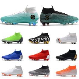 Botas de fútbol de oro negro online-Nike Mercurial Superfly VI 360 Zapatos de fútbol FG negro oro blanco luna azul plata Ronaldo Neymar Athletic Hombres Botas de fútbol para niños Tacos tamaño 39-45