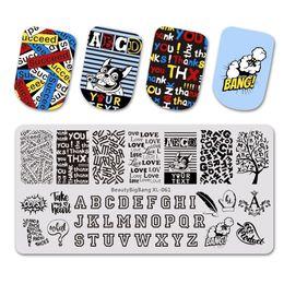 letras do alfabeto de selo Desconto BEAUTYBIGBANG 6 * 12 CM Retângulo Letras Projeto Do Alfabeto Stamping Template Manicure Nail Art Stamp Imagem Placa XL-061