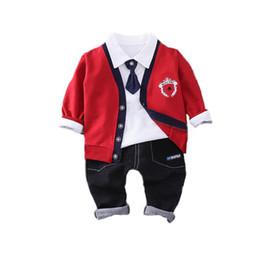 2019 strickjacke-sets Baumwolle babykleidung neugeborenen outfits jungen anzüge jungen designer kleidung jungen kleidung sets strickjacke + hemd + hose junge kleidung A6931 rabatt strickjacke-sets