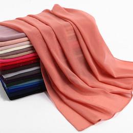 chiffon hijab schals Rabatt Moslemisches einfarbiges Qualitäts-dünnes Ventilations-Hijab besprühen goldenes helles Perlen-Chiffon- Schal-Turban-Kopftuch-Großhandel