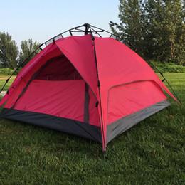 familien-strandzelte Rabatt Outdoor-Zelte Vollautomatische Öffnung Sofortige Doppelschicht Tragbares Strandzelt Beach Shelter Wandern Camping Familienzelte 2-4 Personen MMA2152