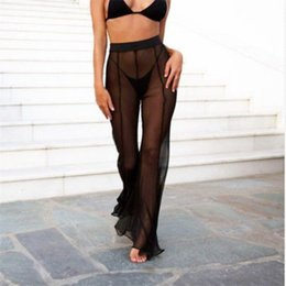 Jambe de couverture en Ligne-Nouveau Sexy À Volants Femmes Plage Mesh Pants Sheer Wide Leg Pants Transparent Voir à Travers Mer Vacances Cover Up Bikini Pantalon Pantalon