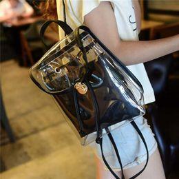 2019 transparente mode rucksack Damenmode Transparente Rucksäcke Umweltfreundliche PVC Hasp Zipper Casual Mädchen Schulranzen 6H0119 rabatt transparente mode rucksack