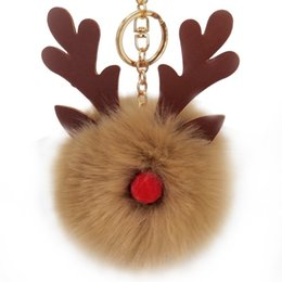 Carro rosa plush on-line-Christmas Deer Plush Keychain Car Key Ring Holder Bolsa Pingente Charme Gift Decor