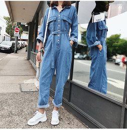 2020 jeans macacao 2018 Spring Umpsuit Autunno Macacao Feminino Salopette di jeans congiunti Tuta casual Tute Tuta tuta da donna sconti jeans macacao