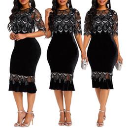 Meio bezerro vestidos mulheres on-line-Classics Lantejoulas Malha Patchwork Bainha Graça Vestido Mulheres meia luva O Neck High Street Fashion Lady Vestido Mid-Calf