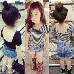 Camisetas infantiles online-Ins Baby Girls Backless camiseta de manga corta a rayas Cute Infant Toddle Slim Tops Camisetas Camisetas para niños K5352