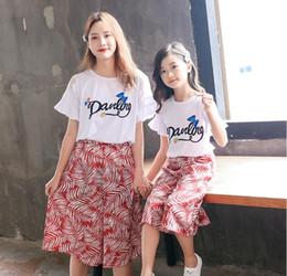 Deutschland Mädchen Sommer breitbeinige Hosenanzug 2019 Neue Mutter-Tochter-Kurzarm-T-Shirt Fashion National Style Eltern-Kind-Anzug Zwei Anzüge Versorgung