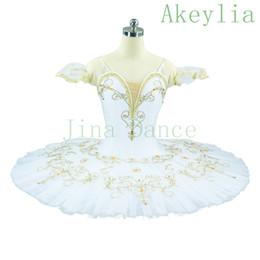 Traje de cascanueces online-Adulto White Swan Lake Tutu de ballet profesional para niñas Competencia de ballet Clásico Pancake Tutu Disfraz Cascanueces Niño Plato verde Tutu