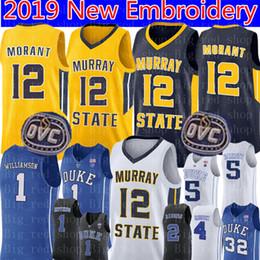 Argentina Ja Morant # 12 Murray State College Real jersey Hombre Amarillo Blanco Azul oscuro Ja Morant Camisetas de baloncesto Bordado Logotipos supplier yellow blue jersey Suministro