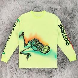 baumwolle grafik t-shirts marken Rabatt Kanye West Staffel 6 Wes Lang Skeleton T-Shirts Markendesign Grafik Langarm Baumwoll-T-Shirt Herren Hip Hop Streetwear Tops YCI0222