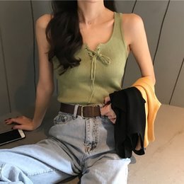 7941912e84729 2019 Summer Knitted V-neck Woman Crop Top Korean Style Sexy Short Haut  Femme Black Cropped Feminino Streetwear Tank Top Women