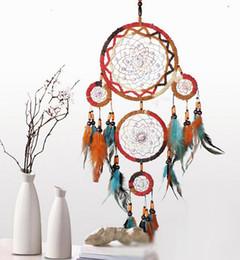 Indian Caught Dream Dream Catcher 5-Cicle Turquoise Perlé Wind Chimes Pendentifs En Plumes Tenture Murale Ornement Artisanat ? partir de fabricateur