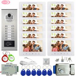 2019 home-video-telefon-systeme Video-Türsprechanlage Intercom System 12 Apartments 7-Zoll-Farb-Video-Gegensprechanlage Wohnsicherheit + Elektronische Türschloss Home Phone rabatt home-video-telefon-systeme