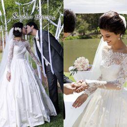 8d5803af6398 Timeless Lace Appliques Princess Wedding Dress 2019 Long Sleeve Illusion  Bodice Off Shoulder Floor-Length White Wedding Gowns