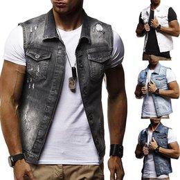 Casaco sem mangas jaqueta jeans on-line-Mens Denim Colete Dos Homens Jaqueta Sem Mangas Casuais Coletes Vintage Mens Jean Casaco Rasgado Slim Fit Jaquetas Masculinas Cowboy