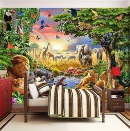papier peint uni solide Promotion Photo faite sur commande murale non-tissé Fond d'écran 3D Cartoon Grassland animal Lion Zebra Enfants Chambre Chambre Maison Decor Peinture murale