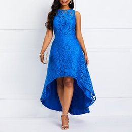 Abito lungo in pizzo blu Swing coda lunga Hem Summer Fashion Evening  Elegante Chic Hook Fiore Slim Ladies Party Sexy Maxi abiti 722dbb7fc44