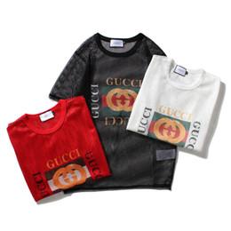 Xxl größe damen t-shirts online-3 farben sommer t-shirts hohl sexy damen t-shirts brief druck flut tees frauen männer t shirts größe s-xxl