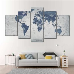 2019 pinturas mágicas 5 piezas de combinaciones HD Cool World Map Pattern sin marco lienzo pintura decoración de la pared pintura impresa cartel