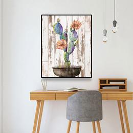 Pote de imagens de pintura on-line-Laeacco Cactus Vaso de Flor Nordic pintura da lona Posters caligrafia e impressões Wall Art Pictures para Sala Decoração