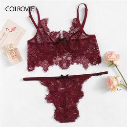 70fc6e34b54 COLROVIE Burgundy Eyelash Lace Thongs V-Strings Sexy Intimates Women  Lingerie Set 2019 Wireless Ladies Underwear Suit Bra Set