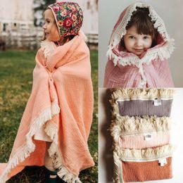 Mattenjunge online-2019 Neugeborene Baumwolle Blanket Quaste Swaddling Baby Boy Swaddle Wrap Blanket Muslin 100% Baumwolle Mat Schlaf
