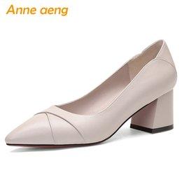 2019 новая весна натуральная кожа женщины туфли на высоком каблуке высокий каблук острым носом мелкие сексуальные женские туфли бежевые женские высокие каблуки от
