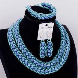 Жемчужное ожерелье набор синий онлайн-4ujewelry Fine Jewelry Sets Imitation Pearls Necklace Jewelry Blue African Beads Nigerian Wedding Jewellery Sets Free Shipping