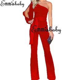 Mameluco negro de un hombro online-Nueva moda para mujer para mujer Clubwear Summer Playsuit Bodycon Party Jumpsuit un hombro Romper pantalones negro blanco rojo verde